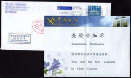 Suisse--Chine,COVID-19 Côtelette Désinfectée Mise à Jour + Notification D'examen Douanier + étiquette LIVRAISON DIFFÉRÉE - Storia Postale