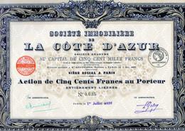 Sté Immobilière De La Côte D'azur En 1926 - Non Classificati