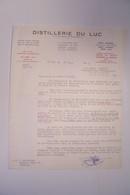 LE  LUC  ( Var ) - DISTILLERIE Du LUC  -Quartier Des Moulins  - EAU De VIE De MARC -  ALCOOL - VITICULTURE   ( 1955   ) - 1900 – 1949
