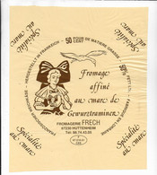 ETIQUETTE DE FROMAGE  NEUVE 23 X 19 AFFINE AU MARC DE GEWURSTRAMINER FROMAGERIE FRECH HUTTENHEIM LORRAINE - Cheese