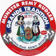 ETIQUETTE DE FROMAGE  NEUVE  16 CM MUNSTER REMY RUDLER  FROMAGERIE DE L'HERMITAGE ROCHESSON - Cheese