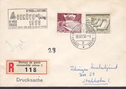 GENÉVE Motor Cars/Cycles Cachet Grand Prix Registered Label Bureau De Poste Automobile 1950 'Petite' Cover Brief - Unclassified
