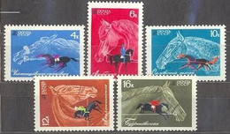 Е150 USSR 1968 3509-3511 (3598-3602) HORSE BREEDING AND EQUESTRIAN (RARE) - Unused Stamps