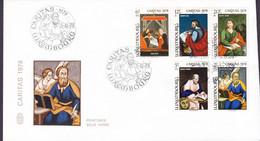 Luxembourg Premier Jour Lettre FDC Cover 1978 Caritas Hinterglasmalerei Peinture Sous Verre Complete Set - FDC