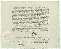 RARE - Ancien MANUSCRIT - Certificat Des écoles Royales De Chirurgie 1784 Avec Sceau En Cire .signature LOUIS- - Manuscripts