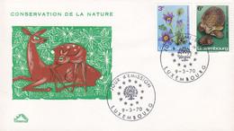 Luxembourg Premier Jour Lettre FDC Cover 1970 Naturschutz Igel Hedgehog Complete Set - FDC