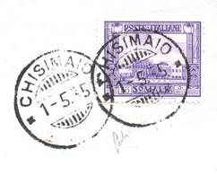 SOMALIA ITALIANA CHISIMAIO * * 1/5/35 Annullo  Su 20 C. - BUSTA  R. RESIDENZA DI CHISIMAIO Per FIRENZE - Somalia