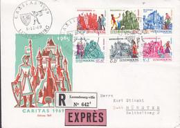 Luxembourg Premier Jour Lettre FDC Cover 1969 Caritas Burgen Castles Complete Set Registered & EXPRÉS Labels Edit. Thill - FDC