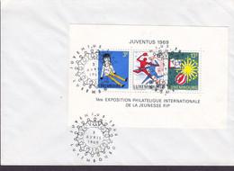 Luxembourg Premier Jour Lettre FDC Cover 1969 Juventus Exposition Philatelique Stamp Exhibition Block 8 Miniature Sheet - FDC