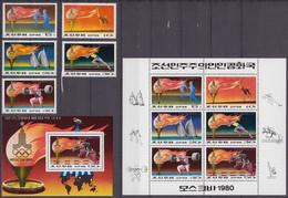 North Korea 01.07.1979 Mi # 1860-64 Bl 60 1860-65 Kleinbogen Moscow Summer Olympics (I) MNH OG - Estate 1980: Mosca