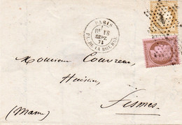 BUSTA AFFRANCATA FRANCOBOLLI FRANCIA STORIA POSTALE - 4 - 1849-1876: Classic Period