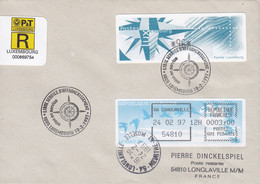 Luxembourg Registered Recommandé Label LUXEMBOURG 18.2.1997 Cover Lettre LONGLAVILLE France ATM Frama Labels - Machine Stamps (ATM)