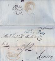 """1826 CORUÑA , SANTIAGO - LONDRES , CARTA COMPLETA CIRCULADA , MARCA DE ENTRADA """" ESPAGNE PAR BAYONNE """" , LLEGADA - ...-1850 Prefilatelia"""