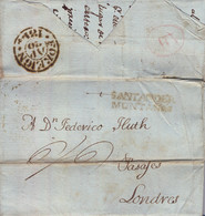 "1814 SANTANDER / MONTAÑAS - LONDRES , CARTA COMPLETA CIRCULADA , MARCA DE ENTRADA  "" FOREIGN "" - ...-1850 Vorphilatelie"