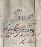 "1832 SANTANDER / M - LONDRES , CARTA COMPLETA CIRCULADA , MARCA DE ENTRADA  "" ESPAGNE PAR ST. JEAN DE LUZ "" , LLEGADA - ...-1850 Prefilatelia"