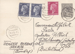 Luxembourg Postal Stationery Ganzsache Entier Uprated Drogerie CARBON, DIEKIRCH 1951 Germany (2 Scans) - Stamped Stationery