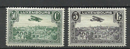 LUXEMBOURG Luxemburg 1933 Michel 250 - 251 Flugpost Air Mail Air Plane Doppeldecker MNH - Unused Stamps