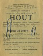 Aarschot :  Openbare Verkoping Van  HOUT  1951   ( Schaffen - Molenstede - Kaggevinne ) 14 X 10.5 Cm - Unclassified