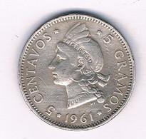 5 CENTAVOS 1961 DOMINICAANSE REPUBLIEK /3331/ - Dominicana