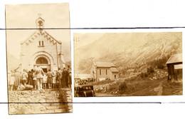 2 PHOTOGRAPHIES. D38.La Bérarde . A La Chapelle, Bénédiction De La Montagne. 28 Juillet 1946 - Places