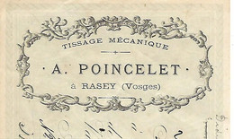 Traite 1897 / 88 RASEY Vers XERTIGNY /  A POINCELET Tissage Mécanique / Timbre Fiscal - Bills Of Exchange