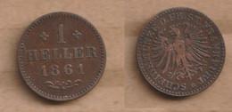 ALEMANIA FRANKFURT   1 Heller 1861  Copper • ⌀ 17 Mm KM# 356 - Sin Clasificación