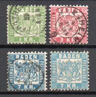 - ALLEMAGNE / BADE N° 23/25 Oblitérés + 25a Neuf - 1 K. + 3 K. + 7 K. Bleu + 7 K. Bleu Ciel - Cote 125,00 € - - Baden