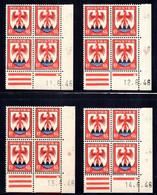 YT-N°: 758 - Blason Du COMTÉ DE NICE, 4 Coins Datés Du 06.1946, Galvano B De A+B, 1er Tirage, NSC/**/MNH - 1940-1949