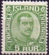 IJSLAND 1920-22 5aur Groen Christian X Gebroken Lijnen In OvaalPF-MNH - Ungebraucht