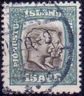 IJSLAND 1907-18 15aur Dienstzegel Twee Koningen Perf 14x14½ GB-USED - Dienstpost