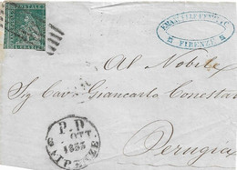 ITALIA TOSCANA 4 CRAZIE SU FRAMMENTO INTERO FRONTESPIZIO DA FIRENZE A PERUGIA ANNULLI A BARRE E P.D. FIRENZE 1853 - F109 - Tuscany
