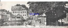Carte Panoramique Double Louviers Vue Prise Du Pont De La Place D'evreux (papier Collé Haut Gauche) - Louviers