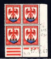 YT-N°: 758 - Blason Du COMTÉ DE NICE, Coin Daté Du 17.02.1947, Galvano A De A+B, 6e Tirage, NSC/**/MNH - 1940-1949