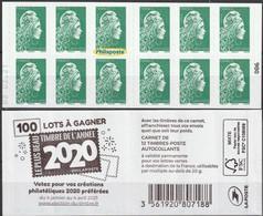 2021 - Y/T 1598 A ? Marianne L'engagée Tarif Lettre Verte (mention Philaposte Au Lieu De Phil@poste) AA - CARNET - NEUF - Neufs