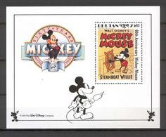 Disney Bhutan 1989 Mickey In Steamboat Willie MS MNH - Disney