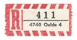 ★0019★ Germany R-Zettel ★★ PLZ 4740 Oelde 4 - R- & V- Vignetten