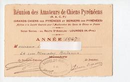 Lourdes (65 Hautes Pyrénées) Réunion Des Amateurs De Chiens Pyrénéens . Carte De Membre 1947 (PPP28319) - Sin Clasificación