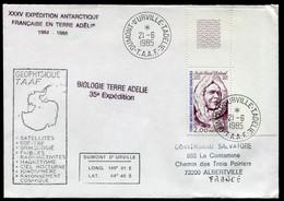 21416 T.A.A.F N°111° 2F André-Franck Liotard : Midwinter Géophysique En Terre Adélie Obl. Terre Adélie Du 21.6.85  TB - Covers & Documents