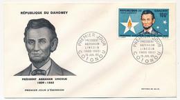 DAHOMEY => Enveloppe FDC => Président Abraham LINCOLN - Premier Jour - Cotonou - 15 Juillet 1965 - Benin – Dahomey (1960-...)