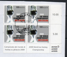 ICE HOCKEY - SWITZERLAND - 2009 - ICE HOCKEY WROLD CHAMPIONSHIPS BLOCK OF 4 FINE USED   SG CAT £12 - Hockey (Ice)