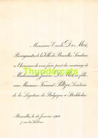 EMILE DE MOT BOURGMESTRE BRUXELLES JEANNE FERNAND PELTZER STOCKHOLM 1908 - Huwelijksaankondigingen