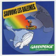 AUTOCOLLANT . STICKER .  GREENPEACE .  SAUVONS LES BALEINES . GREENPEACE - Stickers