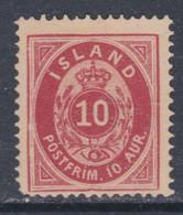 Islande N° 8 X  10 A. Rouge Carminé Type A Trace De Charnière, Sinon TB - Ungebraucht