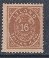 Islande N° 9 X  16 A. Bistre Type A  Trace De Charnière, Sinon TB - Ungebraucht
