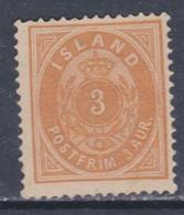 Islande N° 12 X  3 A. Bistre-jaune  Type A  Trace De Charnière, Sinon TB - Ungebraucht