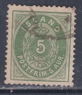 Islande N° 13 O  5 A. Vert  Type A Oblitéré, TB - Gebraucht