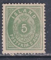 Islande N° 13 X  5 A. Vert  Type A Trace De Charnière, Sinon TB - Ungebraucht