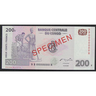 Rép. Dém. Du Congo, 200 Francs 31.07.2007, Spécimen, UNC - Unclassified