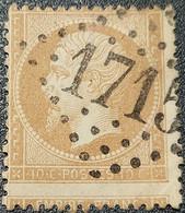 Napoléon III N° 21 (Variété, Piquage à Cheval) Avec Oblitération Losange 1715  TB - 1862 Napoléon III