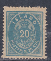 Islande N° 14 X  20 A. Bleu  Type A Trace De Charnière, Sinon TB - Ungebraucht